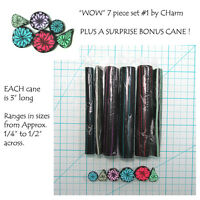 Wow Polymer Clay Cane Set Of 7 Canes Each 3 Long Design By Charm 1