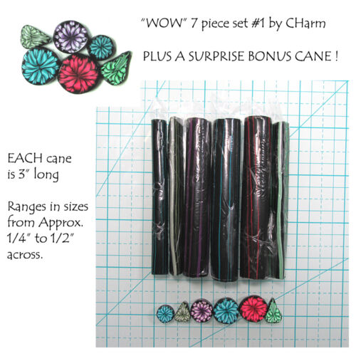 """WOW Polymer clay cane set of 7 canes EACH  3/"""" Long design by CHarm #1"""