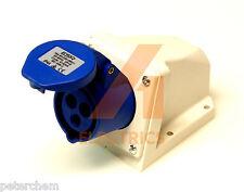 16A wall mount socket 3 pin 220 - 250V IP44 blue 16 amp fast fit camper caravan