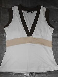 BNWOT-MEXX-White-Brown-amp-Beige-Soft-Stretchy-Cotton-Fitted-Vest-Top-Size-XL-UK