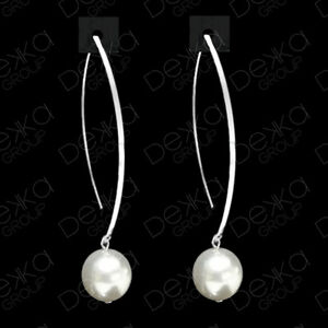 Genuine-925-Sterling-Silver-Made-With-White-Swarovski-Pearl-Drop-Dangle-Earrings