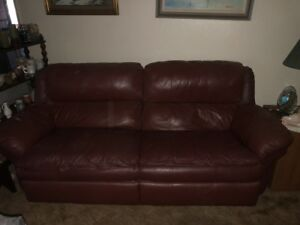 Details about Burgundy Leather Recliner Sofa, Love Seat, and Recliner Chair