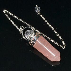 57MM Long Natural Rose Quartz Bullet Dowsing Pendulum With Chain Healing Crystal