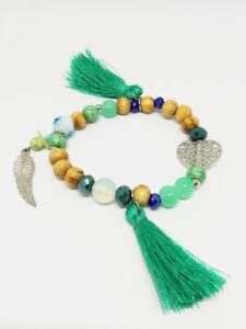 Bracelet-Bijoux-femme-Fantaisie-Vert-Pompon-Perle-Bois-Coeur-Ail-NEUF-ref-6