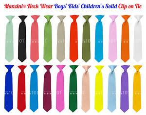 Manzini-Neck-Wear-Boys-039-Kids-039-Children-039-s-Solid-Pre-Tied-Ready-to-Clip-On-Tie
