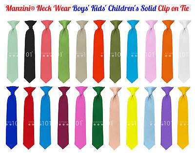 Navy Blue NYfashion101 Boys Solid Clip on Tie
