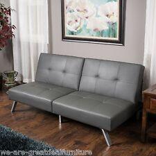 Living Room Furniture Modern Grey Tufted Vinyl Click Clack Futon Sofa Bed