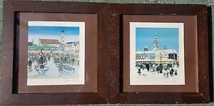PETRA-MOLL-1921-1989-x2-original-lithographs-pencil-signed-Munich-LS-Lowry-style