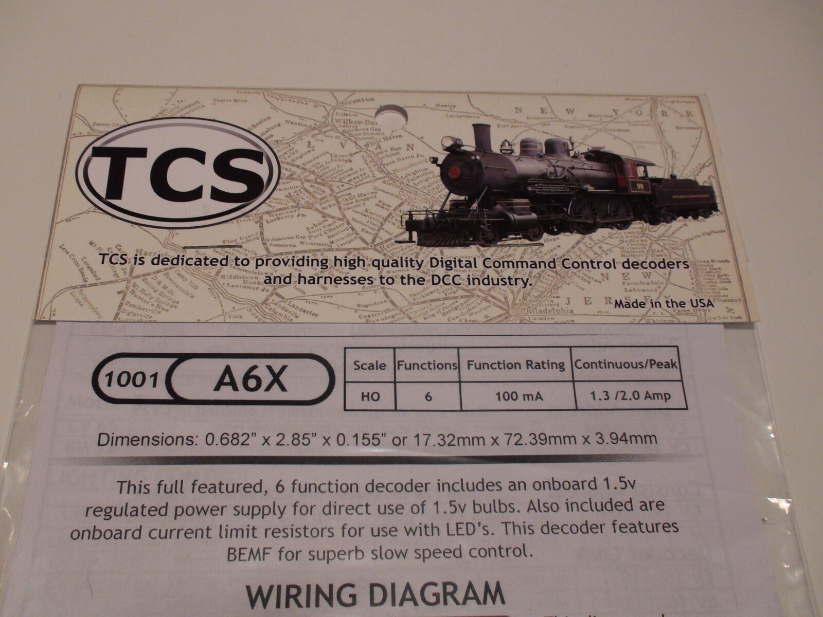 TCS A6X Train Control Systems Decoder 6 Function BIGDISCOUNTTRAINS