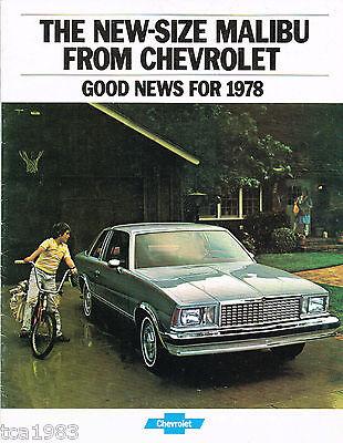 1978 Chevrolet Malibu Brochure/opuscolo/catalogo Promuovi La Produzione Di Fluidi Corporei E Saliva