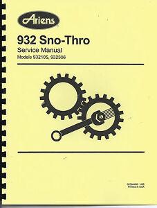 ariens 932 series sno thro service and repair guide