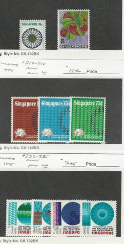 Singapore, Postage Stamp, #195, 198 Hinged, 212214, 232235 Mint LH, 19735