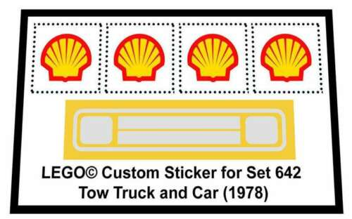 Tow Truck and Car 1978 Replica Sticker for Lego®  Town Traffic set 642