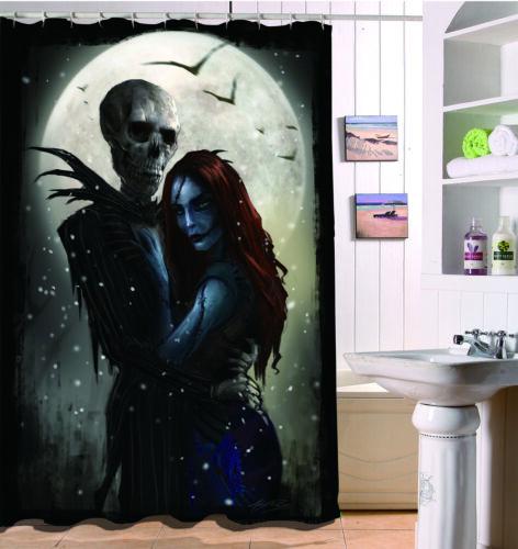 Mr skeletons Vampire Bride Polyester Fabric Shower Curtain Set Bathroom Hooks
