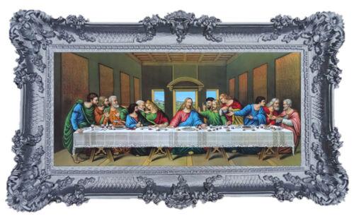 Gemälde Jesus 12 Apostel Das Abendmahl Ikonen Antik BAROCK SILBER 96x57 Shabby