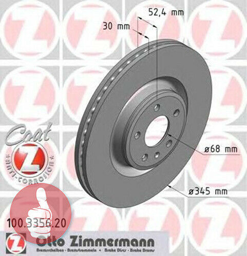 Zimmermann Coat Z Disques De Frein 345 mm ventilée naturellement Essieu avant pour Audi