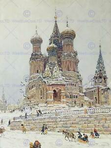 PAINTING-CITYSCAPE-MOSCOW-DUBOVSKOY-CHURCH-SAINT-BASIL-ART-PRINT-POSTER-HP1611
