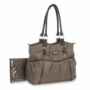 carter 39 s double zip diaper bag taupe ebay. Black Bedroom Furniture Sets. Home Design Ideas