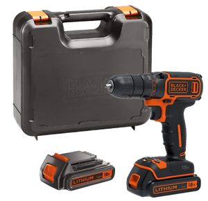 BLACK+DECKER BDCDC18KB-GB Cordless Drill Driver with Kitbox and 2 x 1.5 Ah...