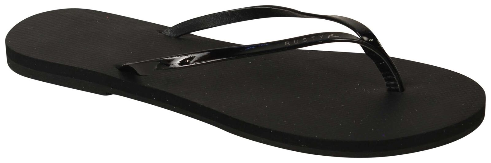 Rusty Shimmy Black Thong Sandal - Black Shimmy Stealth - New 23d13d
