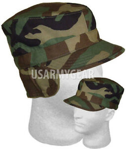 f3e597380c6 Image is loading US-ARMY-Military-Insulated-Woodland-Camouflage-Patrol-Cap-