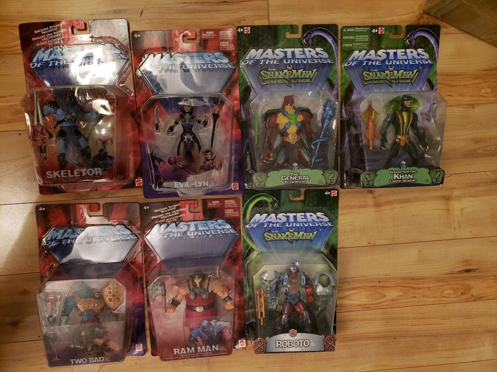 Masters of the Universe MOTU 200X lot SKELETOR Evil-Lyn RATTLOR Roboto KHAN