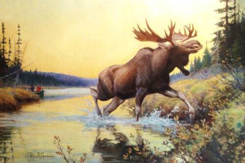 Moose by Phillip Goodwin Hunters in Canoe