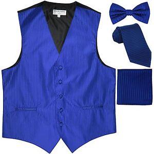 Blue y para hombre moño de Corbata lazo Hankie de de esmoquin Nuevo Rayas Chaleco Royal corbata Chaleco Eaq5vwA0xn