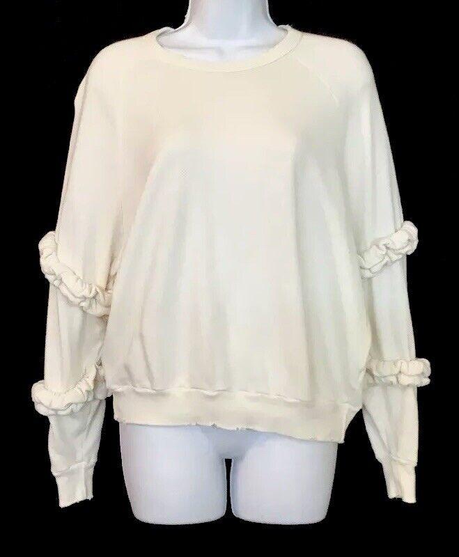 The Great Sweatshirt Off Weiß Long Sleeve Ruffle Trim Größe 0