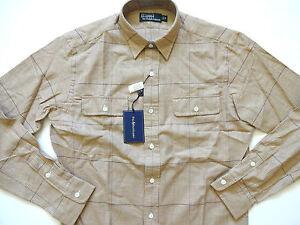 New ralph lauren polo 100 cotton light brown khaki plaid for Light brown polo shirt
