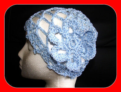 Brand new hand made crocheted sparkly baby blue hat disco hen night 1970s abba