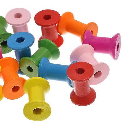 10PCs New Wooden Empty Thread Spools Mixed Color 28.7mm x22.4mm K81428