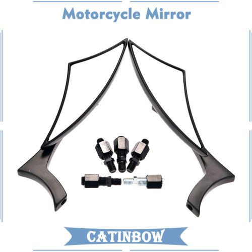 CNC BLADE STEADY ALUMINUM MOTORCYCLE MIRRORS FOR CRUISER CHOPPER 8-10MM BLACK