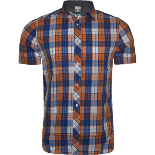 MENS BRANDED SHORT SLEEVE CASUAL CHECK PRINT SMART COTTON WORK FLANNEL SHIRT