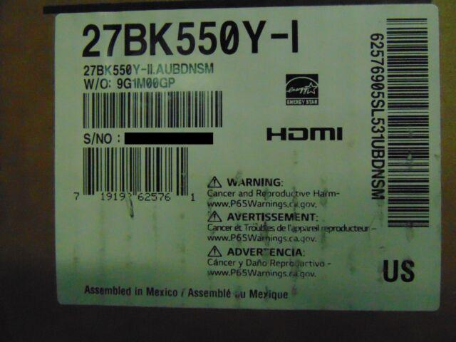"""LG 27BK550Y-I 27"""" TAA Compliant IPS Monitor 1920x1080 16:9  27BK550YI"""