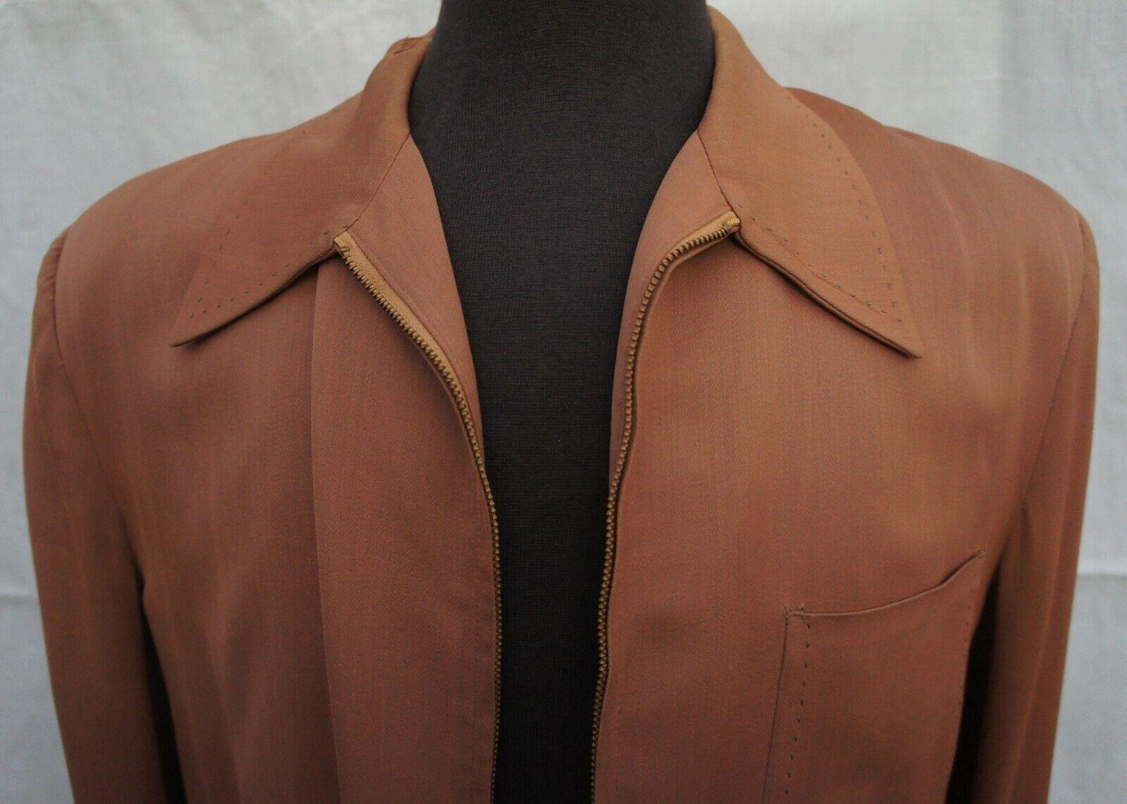 Vintage 30s 40s 50s Mens Brown Casual Zipper Jack… - image 2