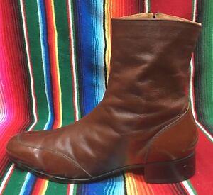 Nunn Bush boots .. ankle .. zipper .. brown leather .. Men's 12 D
