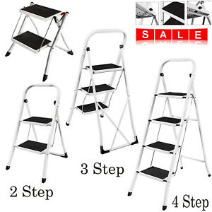 Portable 2 3 4 Step Ladder Folding Iron Stool Safe Anti