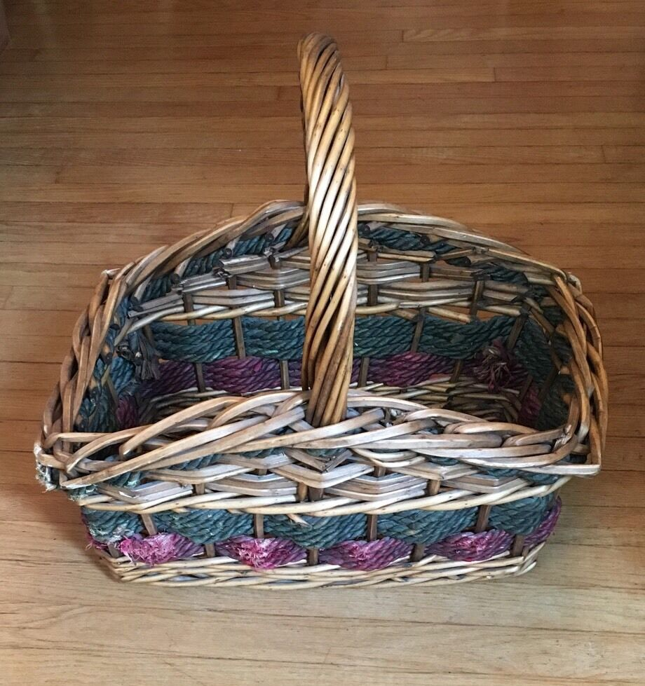 Large Woven Wood Rope Sturdy Basket w  Handle Storage green red Rectangular