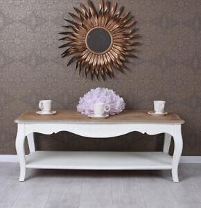 Détails sur Table Basse Shabby de Salon D\'Appoint Blanc en Bois Style Ancien