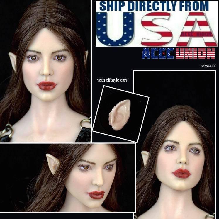 1 6 Fairy Elf Female Head Brown Detachable Ears PALE For PHICEN Figure U.S.A.