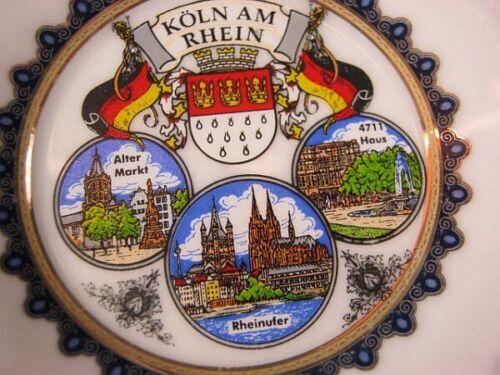Köln Teller Porzellan,8 cm vergoldet,Alter Markt,Rheinufer,Souvenir,NEU
