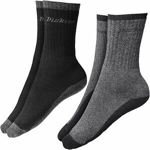 Dickies-THERMIQUE-CHAUSSETTES-TRAVAIL-2-Paires-Taille-UK-6-11-thermo-noir-gris