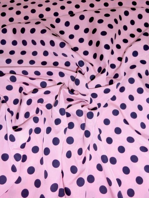 """Polka Dot White Black Crepe Satin Fabric 60/""""W Drape Dress Children Scarfs Skirt"""