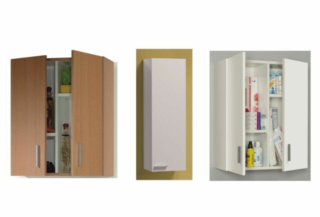 Arma Universal Kitchen Bathroom Office Wall Mounted Cupboard Unit Beech & White