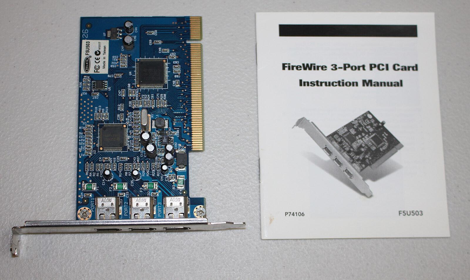 Belkin F5U503 3-Port FireWire IEEE 1394 PCI Card with Manual