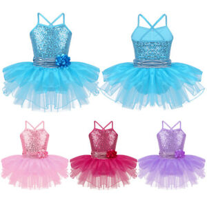 Kids-Girls-Ballet-Dance-Leotard-Tutu-Dress-Gymnastics-Sequined-Dancewear-Costume