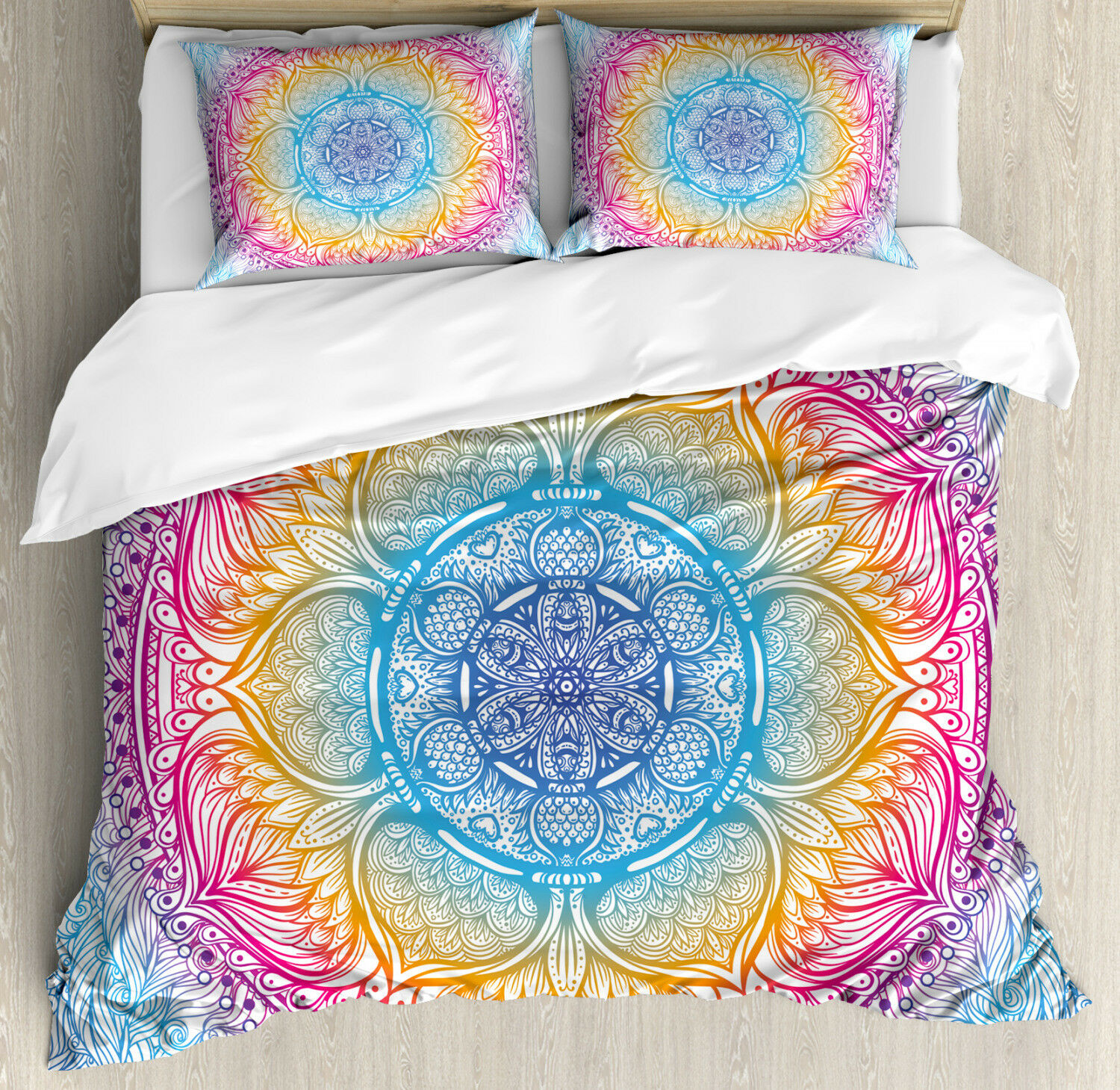 62b7a2d5c4 Ethnic Duvet Cover Set with Pillow Shams Magical Fantasy Round Print ...