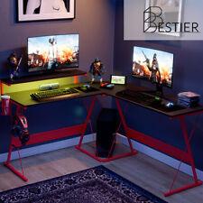 55 L Shaped Computer Gaming Desk Led Pc Corner Table Workstation Home Office