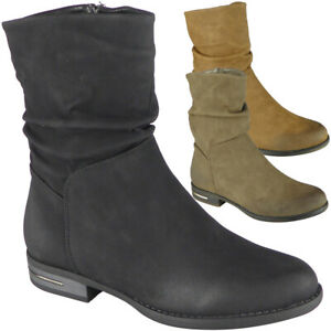 Ladies Mid Calf Boots Womens Slouch Low